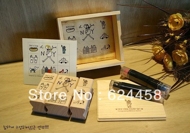 Free shipping stationery DIY wooden Shinzi Katoh  stamp set with ink pad pen/decoration stamp set 5sets/lot