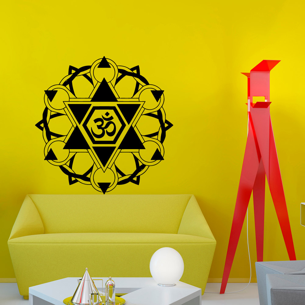 Om Symbol Indian Mandala Pattern Wall Sticker PVC Art Living Room Decorative Decals Easy Transfer(China (Mainland))