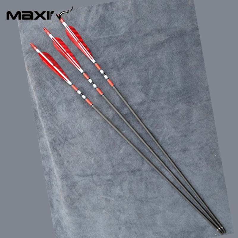 Maxin X3 Archery Carbon Hunting Arrows Craftsmans Handmade Carbon Shaft Archery Arrow 7 5mm RED Turkish