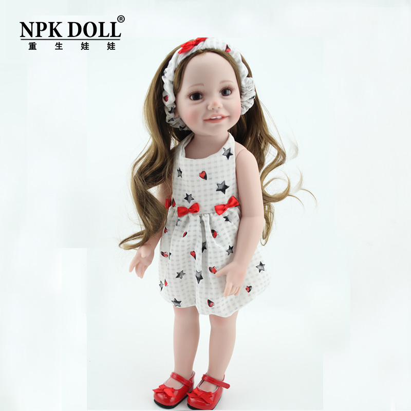 Cutie American Childs Play Doll 18'' Vinyl Smiling Life-like Blonde Baby Dolls With Dress Outfit Girl Toys For Kids