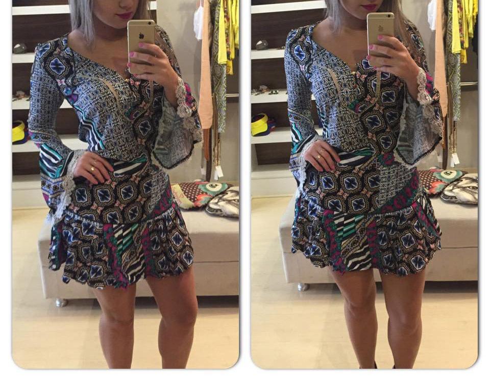 Latest Designs 2015 Women casual mini dress work wear print long sleeve fashion summer v-neck chiffon dress with lace vestido(China (Mainland))