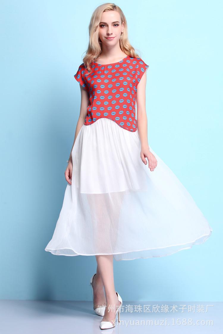 2015 New Clubwear Lips Print Dresses Sleeveless O Neck Patchwork Dress Summer Cute Mini Dresses ...