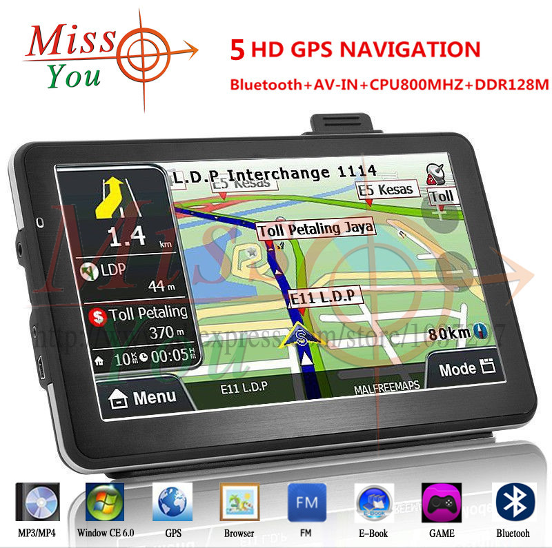 Best Quality 5 inch wince6.0 GPS Navigation 128MB 4G. 800MHZ Dual core with bluetooth AV-in FMT Russia Europe USA world maps(China (Mainland))