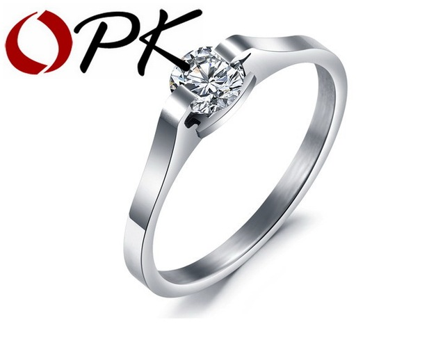 OPK JEWELRY 316L Stainless Steel Rings true qualities  Crystal Circle Shiny  Wedding Rings 5/6/7/8/9/10 GJ254