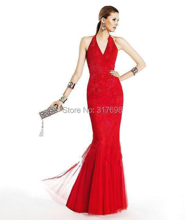 Vestidos De Fiesta 2015 New Mermaid V-neck Lace Appliques Red Long Elegant Evening Dresses Party Dress