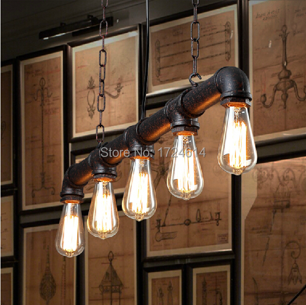 Water pipe untique rust red American industrial loft vintage pendant lights for dining room iron painted E27 Edison bulb lamp(China (Mainland))