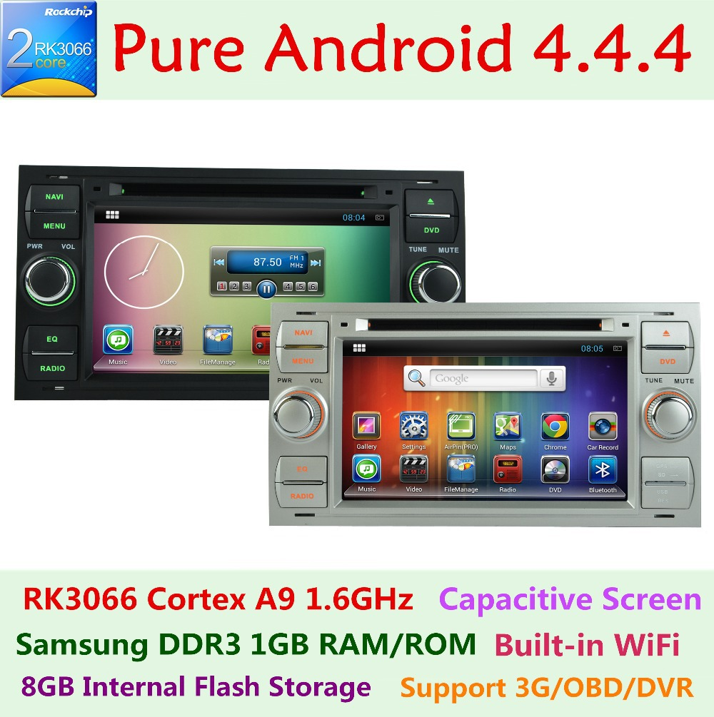 Pure Android 4.4.4 Car DVD GPS Radio StereoPlayer For Ford Focus 2 2004 2005 2006 2007 2008 Mondeo S C Max Fiesta Galaxy Connect(China (Mainland))