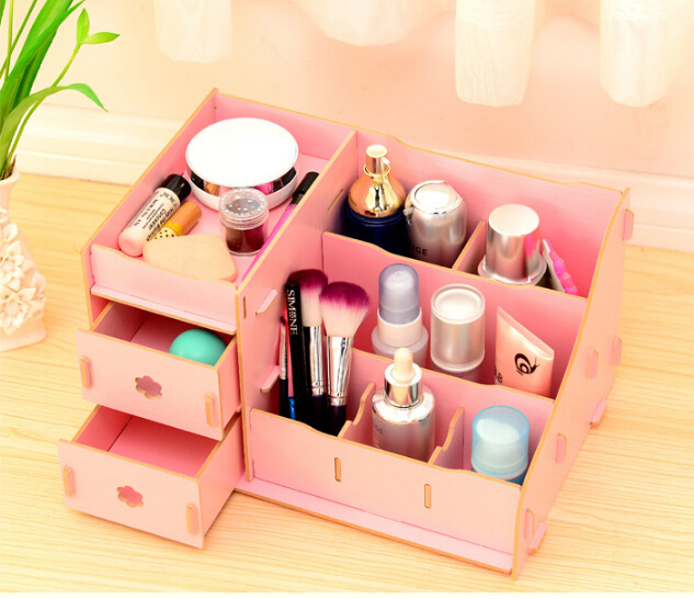 2015 Hot Wooden dressing table drawer Storage Boxes Korea creative diy dresser Wooden finishing box(China (Mainland))