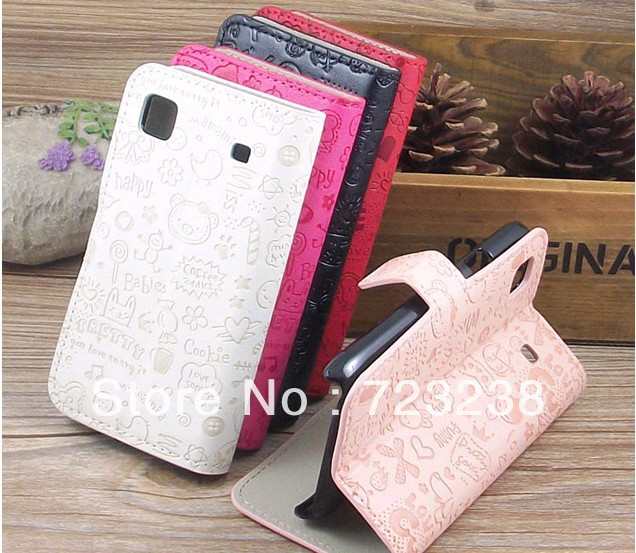 Little Witch PU Leather Gt for SAMSUNG i9000 phone case i9001 i9003 i9008 holsteins protective case about to open New Arrival(China (Mainland))