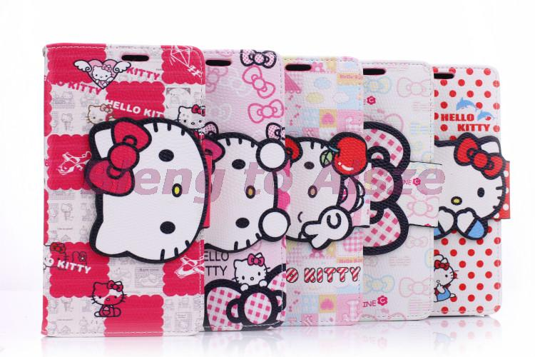 Unique Cute Cartoon Hello Kitty Phone Pouch For Samsung Galaxy Note 3 N900 Cover Pu Leather Case Wallet Stand Shell Card Slots(China (Mainland))