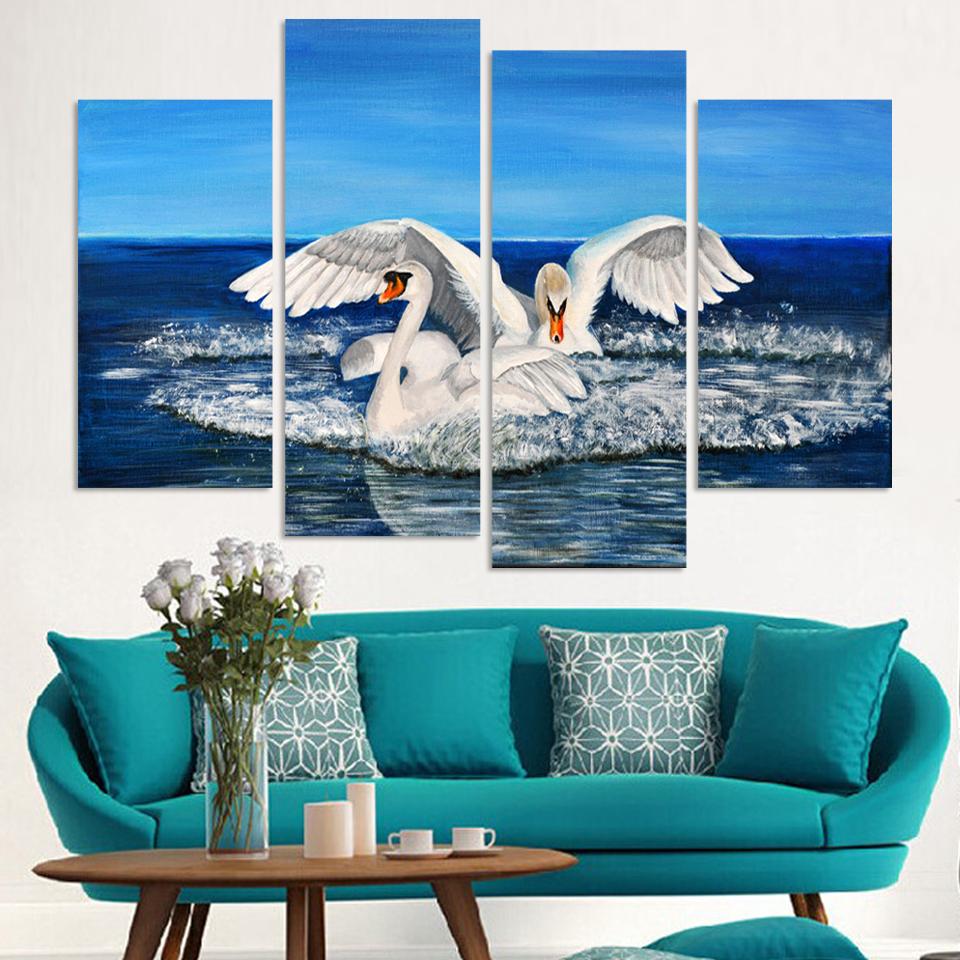 4 Panels Canvas Swan swim Painting On Canvas Wall Art Picture Home Decor FOU153(China (Mainland))