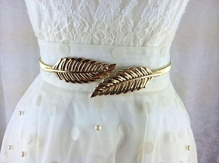 Fashion Stylish Metal Golden/Silver Leaves Chain Belt Women's Waist Elasticity Waist Belt CX677206(China (Mainland))