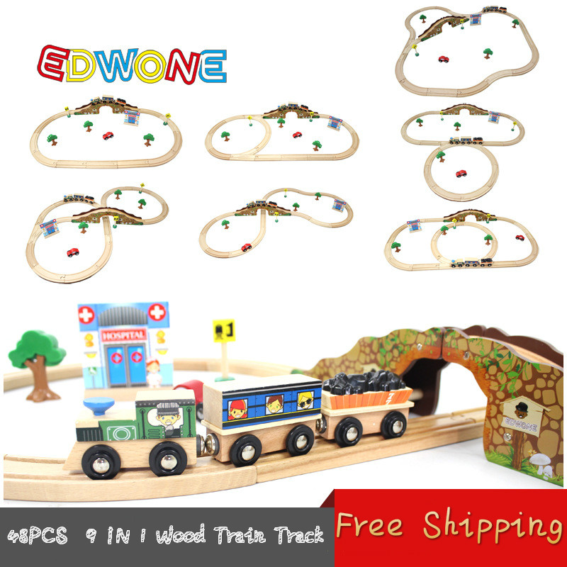 Thomas and Friends --48PCS Thomas Train Track Set 9IN1 Beech Wooden Railway Track EDWONE fit Thomas and Brio Gifts For Boy Kids(China (Mainland))