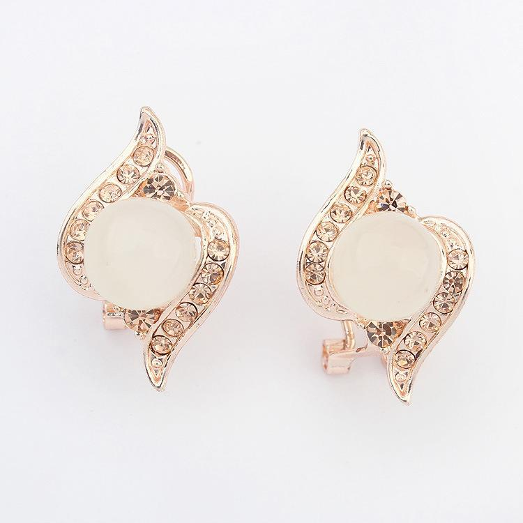 2014 Promotion New Arrival Women Crystal Zinc Alloy Trendy Dangle Earring Earrings for Women Brinco Er301 Opal Pop Ear Clip(China (Mainland))