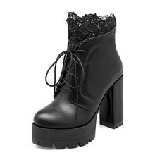 Prova perfetto 2019 Sonbahar Kadın Bağlama Platformu Çizmeler Yüksek Topuklu Kadın Siyah Platform Topuklu Bahar kısa çizmeler Bayan Ayakkabıları(China)