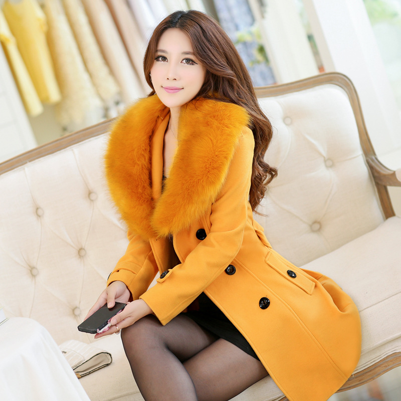 2014 Winter new style wool coat long Korean version slim trench women's clothing casual coats - Sunlight shopping mall store