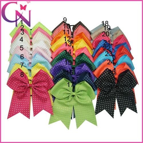 "20pcs/lot 8"" Rhinestone Cheer Bow With Elastic Band Girl Cheerleading Hair Bow Rhinestone Ponytail Holder For Girl CNEB-14111201(China (Mainland))"