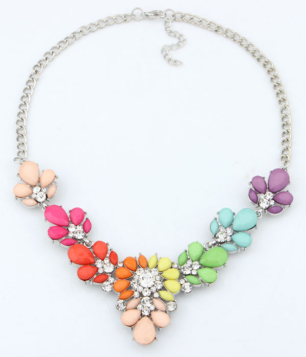 Jewelry Fashion 2016 New 3 Colors Crystal flowers stone Statement Necklace Choker necklaces & pendants Woman Gift - Olaru Store store