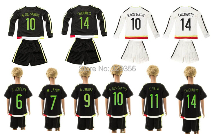 2015 2016 15 16 Mexico chicharito Dos Santos national team long short sleeve youth kid Soccer Jersey Football Custom Name number(China (Mainland))