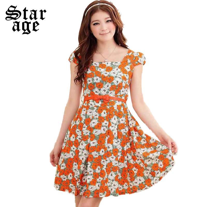 S-XXXL Korean plus size Faux Silk Floral printed short sleeve Ladies dresses 2015 New Summer Women Clothes 9504(China (Mainland))