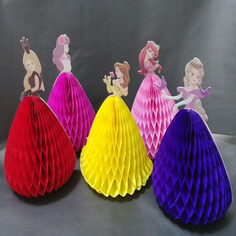 Beautiful Honeycomb 3D Princess Paper Flower Children Holiday Party Decoration Honeycomb Ball Paper Flower Decorative Supplies(China (Mainland))