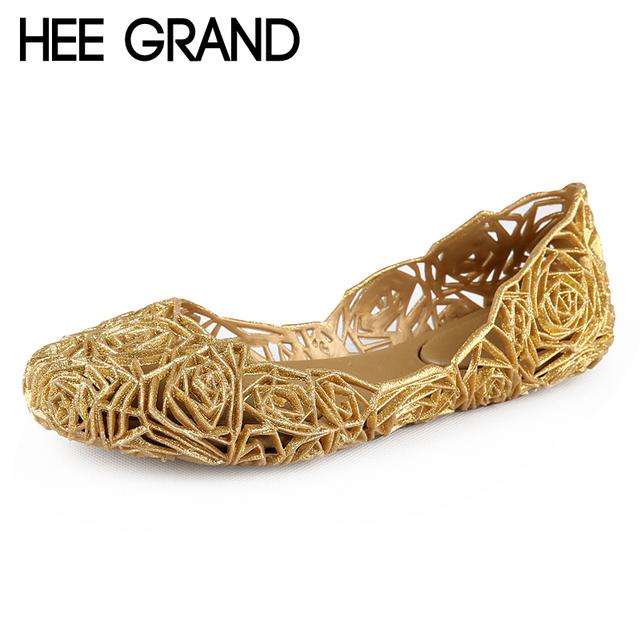 Летом желе сандалии 2016 платформа квартиры конфеты цветов желе обувь женщина выросли ...