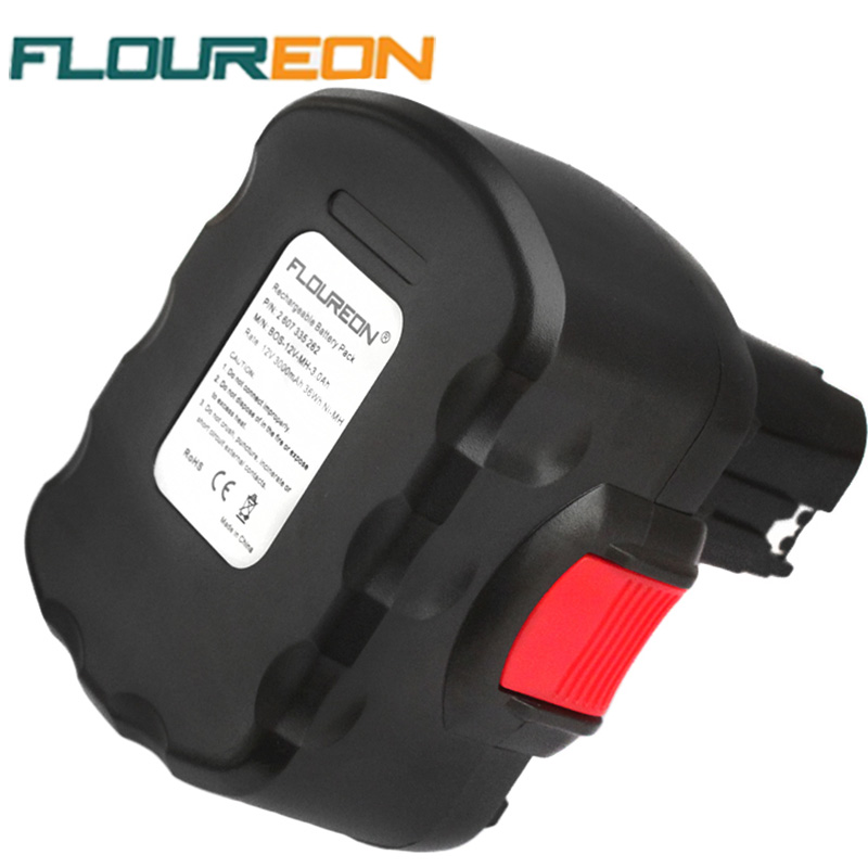 FLOUREON 12V 3000mAh Rechargeable Battery Pack Power Tool Battery Replacement Cordless for Bosch Drill GSR PSB Ni-MH(China (Mainland))