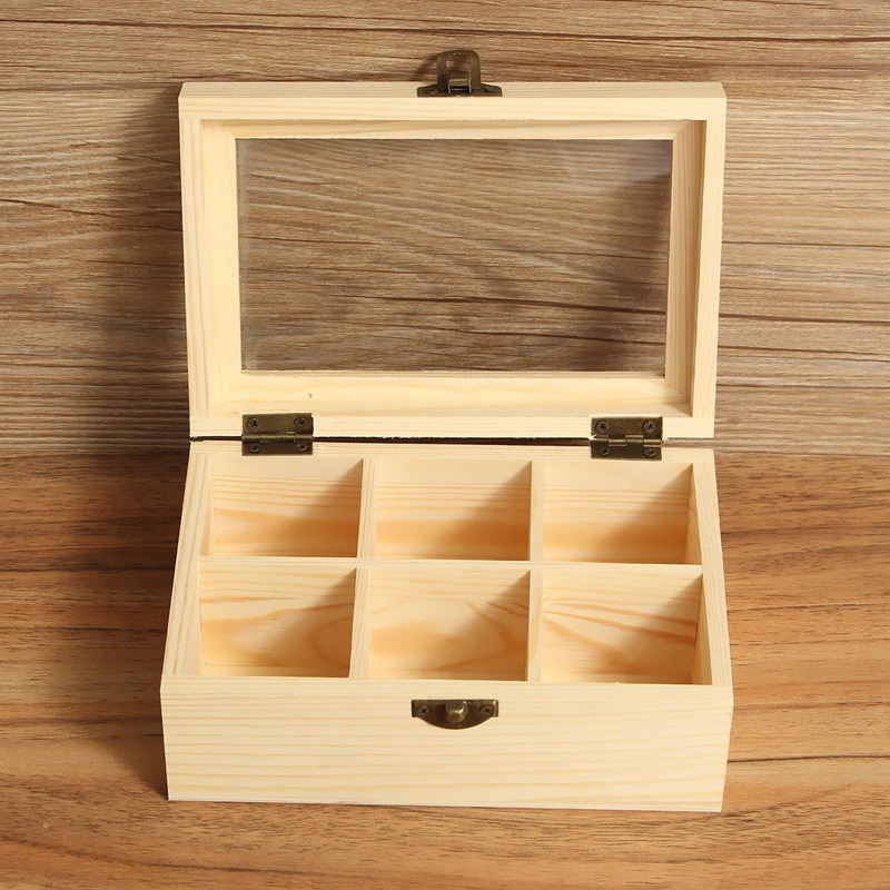 6 Compartments Wooden Tea Box Jewelry Accessories Storage Container Pine Wood Tea Gift Store Box Case Container(China (Mainland))