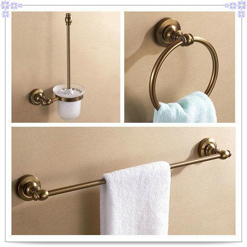 Aluminum Antique Brush Holder Towel Ring Single Towel Rack Bar Bathroom Hardware Set Bathroom