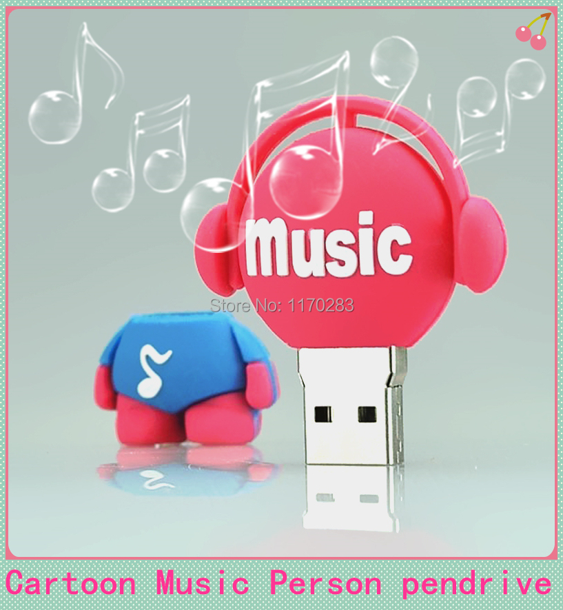 Pass H2testw! full szie Cartoon musician USB 2.0 flash drive 64GB 8GB 16GB 32GB Memory Stick Music Man 64GB Drive Thumb/Car/Pen(China (Mainland))