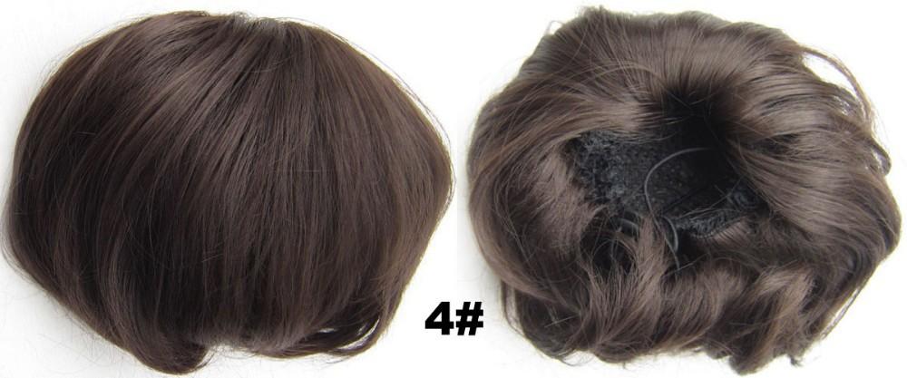 на кольцевой пончик синтетические клип на хвост невесты волосы булочки Шиньон булочки прямо большой #4 темно-коричневый
