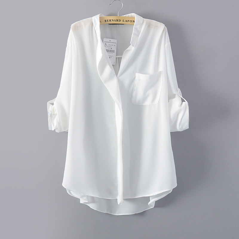 Womens Oversized White Blouse - Smart Casual Blouse