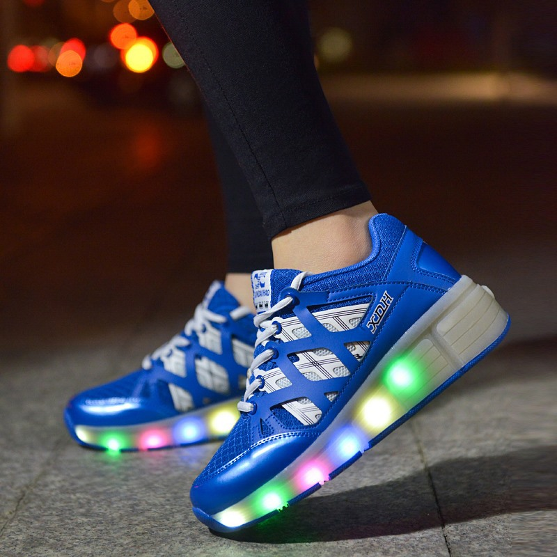 2016 Fashion storm laces/lamp LED light shoes Heely boys one wheel auto-sport burst women man roller EUR31-43 big size