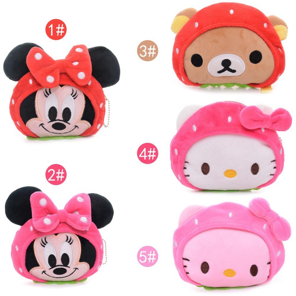 Lovely Desgin Cartoon Strawberry Hello Kitty  Mouse  Rilakkuma bear Plush Girls Kids Mini Coin Purse Wallet + Chain 5*4''  New(China (Mainland))