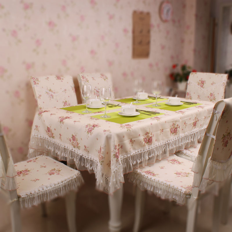 Rose cloth dining table cloth tablecloth cushion chair cover lace fashion(China (Mainland))