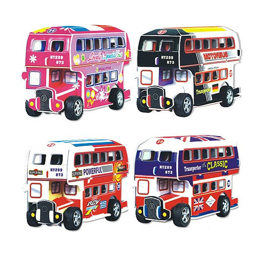4 designs red Double Decker Bus DIY Handmade 3D Paper Puzzle car models & building Kits Children Learning & Education Toys(China (Mainland))
