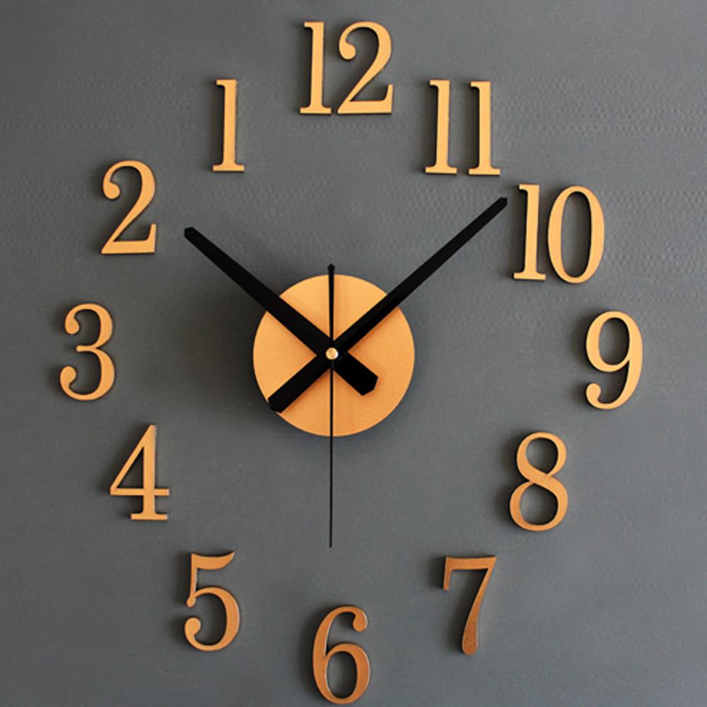 3D DIY Silver Gold Digital Wall Clock Fashion Creative Reversing Clock Arabic Numerals Home Decor Art Clock Unique Gift(China (Mainland))