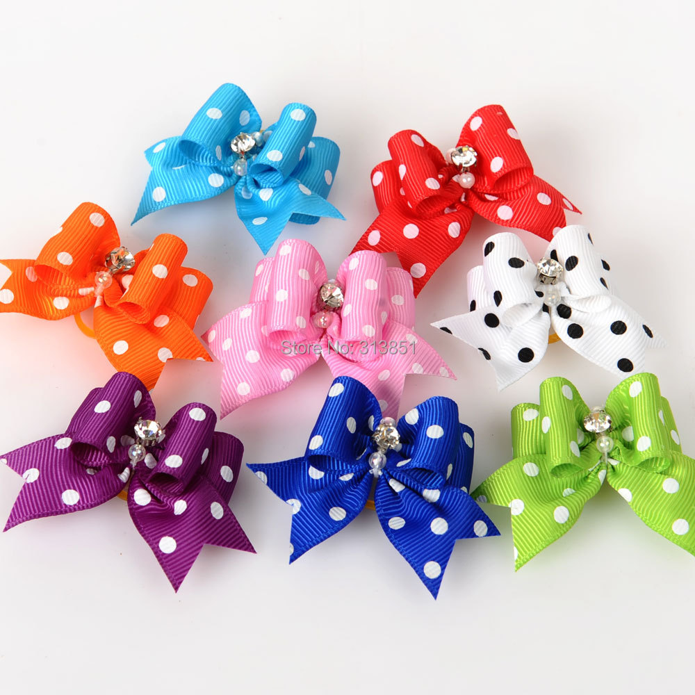 2PCS Pet Supplies Products Handmade Dog Accessories Pet Hair Bows Dog Show Supplies Pet Hair Bows Rubber Bands Big Size Fashion(China (Mainland))