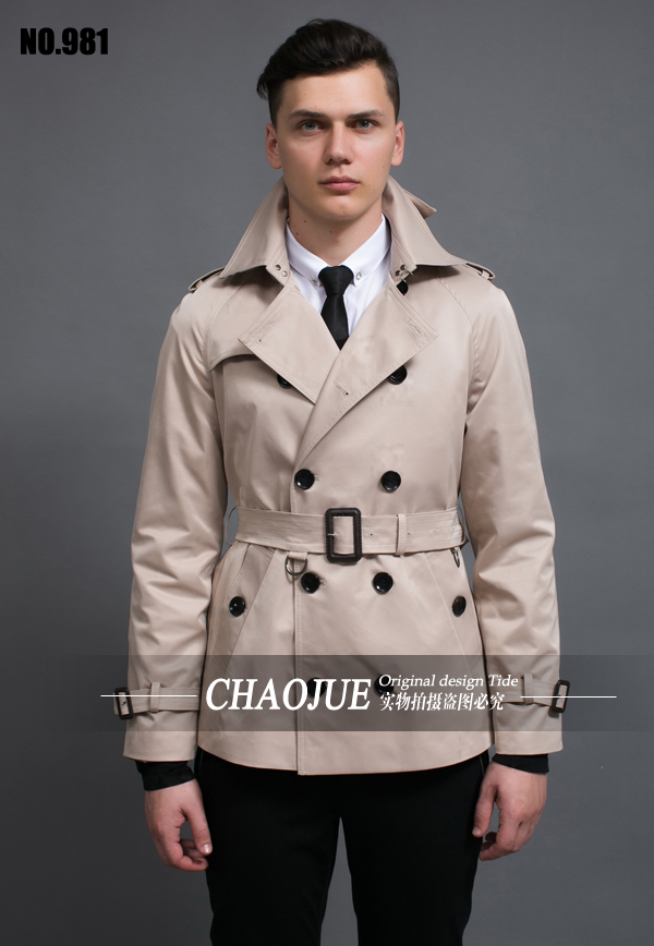 S-5XL ! Short design men trench coat 2015 spring autumn Men's fashion brief double breasted slim coat outwear free shippig(China (Mainland))