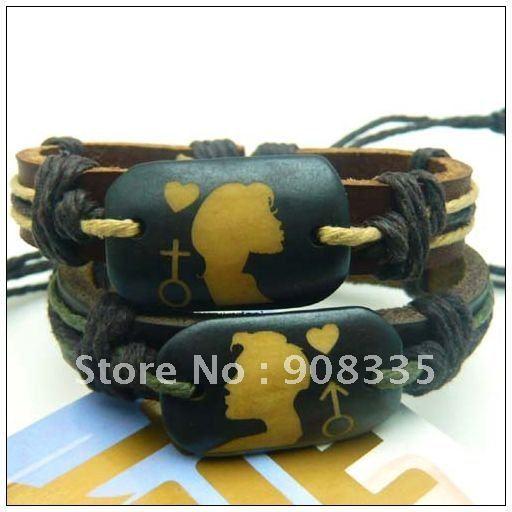 BL-41 24pcs/lot valentine lover's ethnic bracelet,natural ox bone genuine leather surfer bracelet,