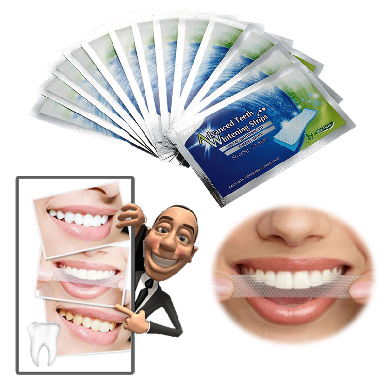 14Pairs/Box Oral Hygiene Teeth Whitening Strips Professional Double Dental White Teeth Strips Gel Bleaching Tooth Free Shipping(China (Mainland))