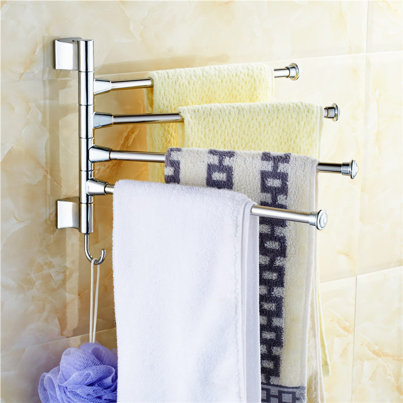 Stainless Steel Towel Bar Rotating Towel Rack Bathroom Kitchen Towel Polished Rack Holder Hardware Accessory PTSP