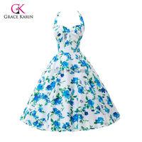 Summer Style 40s 50s 60s Rockabilly Retro Vintage Swing Audrey hepburn dress Cotton Flower print Party Dress Plus Size vestidos