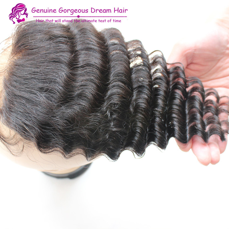 Unprocessed peruvian virgin deep wave hair 3.5*4 , free, middle part, 3 part lace closure ,bleached knots 8-20 in stock fast<br><br>Aliexpress