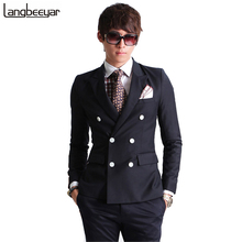 2016 New Fashion Brand Men Blazer Men Double-breasted Suit Set Casual High-quality Slim Fit Suits Groom Wedding Dress Men Suit(China (Mainland))
