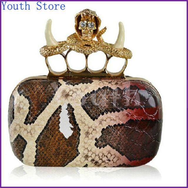 Мода женщины клатч стильный серпантин из змеиной pu сумочку crystle череп кулака застежка банкетный мешок