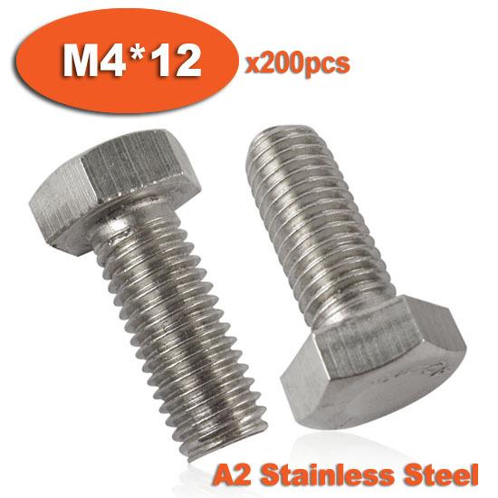 200pcs DIN933 M4 x 12 Fully Threaded Stainless Steel Bolts A2 Hexagon Hex Head Bolt Set Screw Setscrews<br><br>Aliexpress
