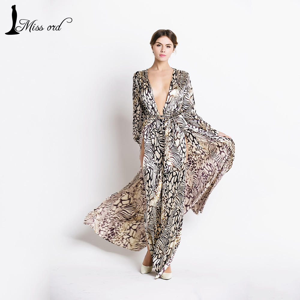 Free shipping Missord 2016 Sexy Deep-V Long Sleeve split Leopard printing dress beach dress FT2294-1(China (Mainland))