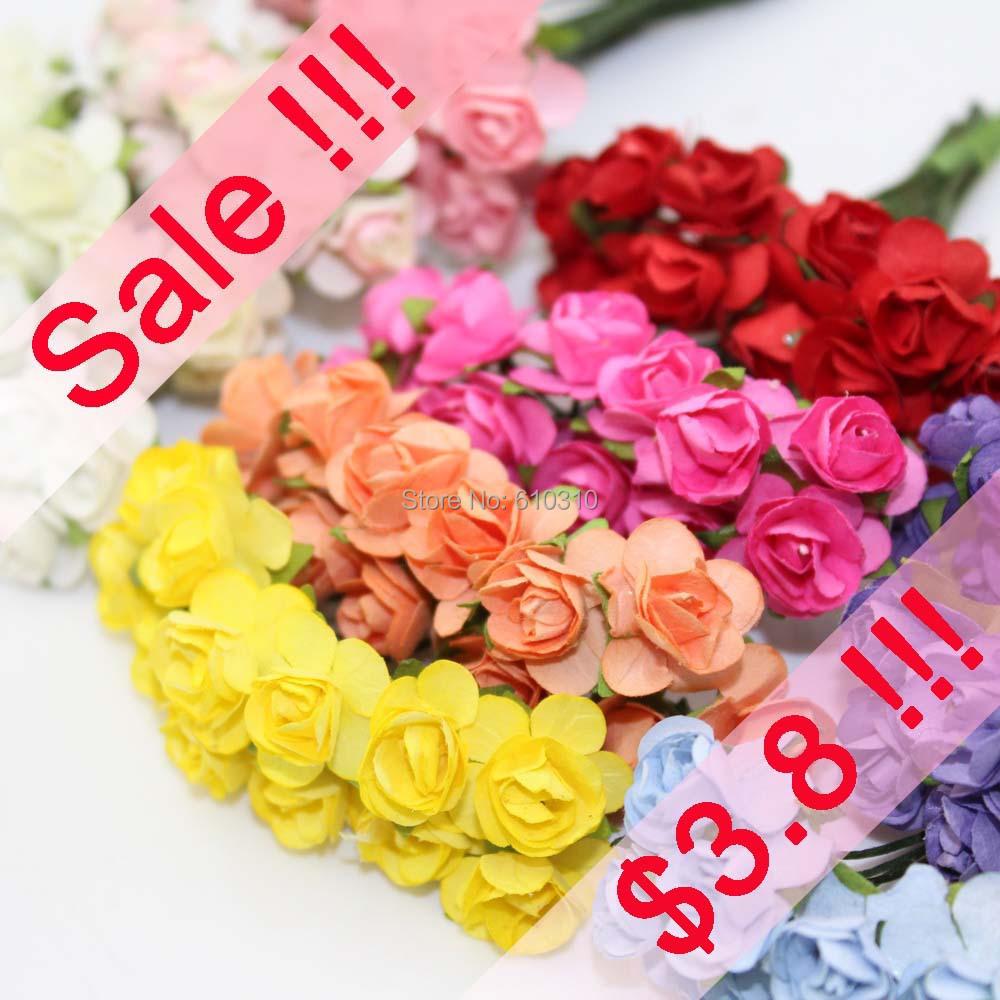 Sale!!! 1-1.5cm head Multicolor Mulberry Paper Flower Bouquet/wire stem/ Scrapbooking artificial rose flowers(144pcs/lot)(China (Mainland))