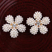 200pcs lot 25MM 2Colors DIY Flower Shaped Pearl Metal Buttons For Craft Mini Bling Rhinestone Buttons